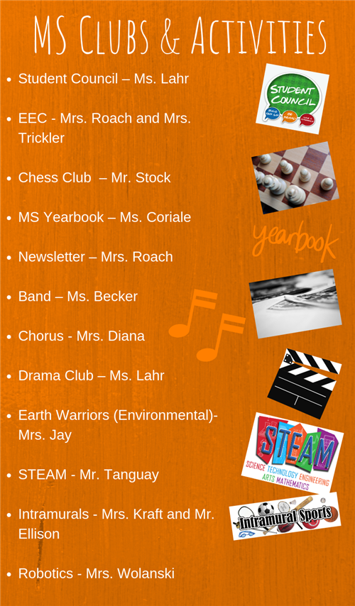MS clubs & activities list