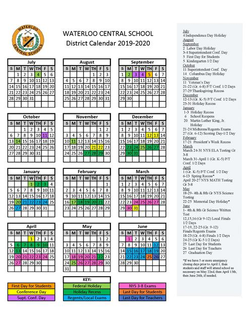 Revised 2019-2020 District Calendar