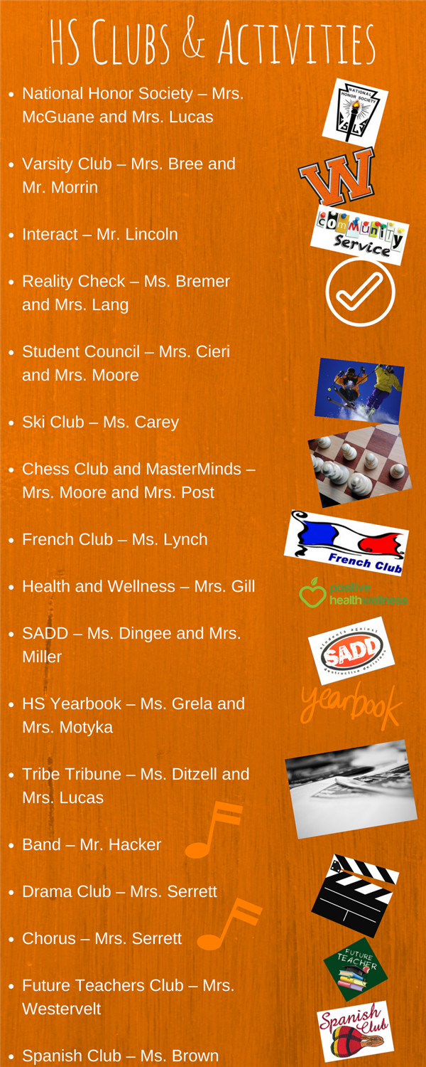 Clubs and Activities list